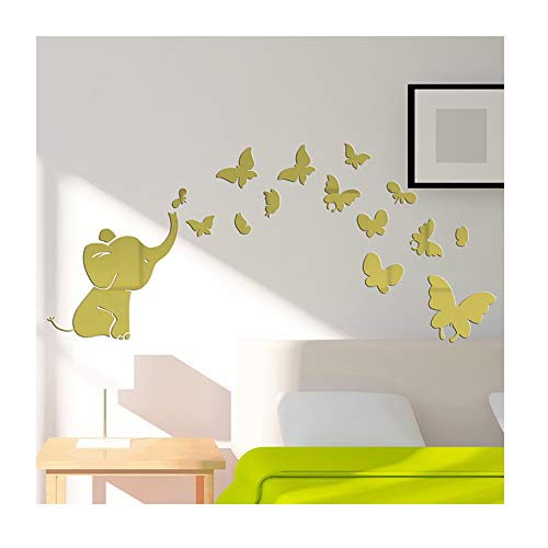 Alrens(TM) Cute Elephant Butterflies Acrylic Mirror Surface DIY 3D Wall Sticker Baby's Room Nursery Decor Creative Mural Decal Art Home Decoration Gift for Kids (Wall Mirror Decal Elephant)