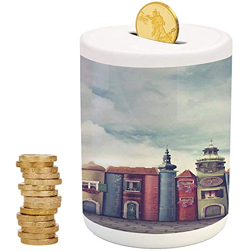 Fantasy Decor,Kids Boys and Girls Money Bank,for Party Decor Girls Kid's Children Adults Birthday Gifts,City with Old Books Style Buildings Birds Cloudy Sky Literature Magic Fun Cityscape Decorative -