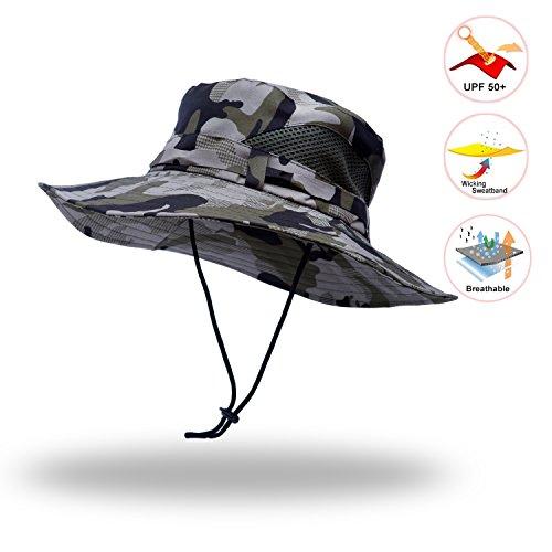 Anleolife Grey Camo Jungle Boonie Hat Travel Biking Boating Hiking Beach Vacation Bucket - Jungle Boonie Hat