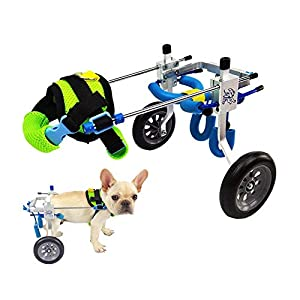 Dog Wheelchair,Pet cart,Suitable for Big Small Dogs Cat Puppy Hind Legs Rehabilitation Handicapped Disabled Paralysis Injured Assist Walking,Adjustable,2 Wheels,1.5kg (3.3lbs)- 50kg (110lbs) Pound 27