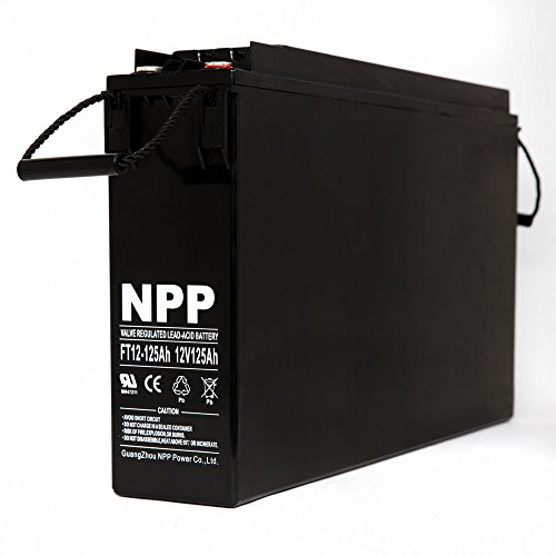 NPP 12V 125 Amp FT12 125Ah Front Access Telecom Deep Cycle AGM Battery With Button Style Terminals by NPP