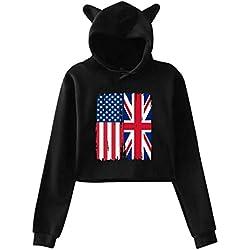 Womens Sexy Cat Ear Hoodie, American British Flag Midriff-Baring Graphic Print Crop Top