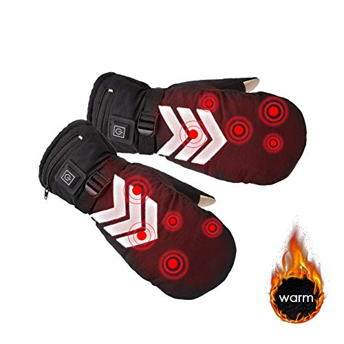 Heated Gloves for Men Women Rechargeable Battery Heated Gloves Waterproof Winter Thermal Electric Gloves Mitten Hand Warmer for Arthritis Motorcycle Hiking Skiing Cycling Hunting