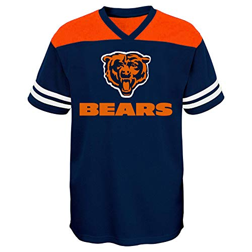 (Outerstuff NFL Youth Primary Logo V-Neck Team Color Shirt (Youth Medium, Chicago Bears Navy Alternate))