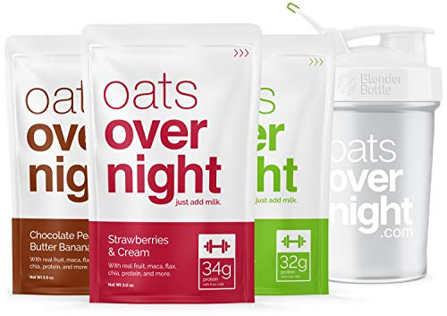 Oats Overnight - Premium High-Protein, Low-Sugar, Gluten-Free (3oz per pack) (3 Pack with BlenderBottle) ()
