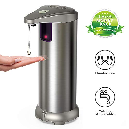 (Hanamichi Soap Dispenser, Touchless Automatic Soap Dispenser Equipped Stainless Steel w/Infrared Motion Sensor Waterproof Base Adjustable Switches Suitable for Bathroom Kitchen Hotel)
