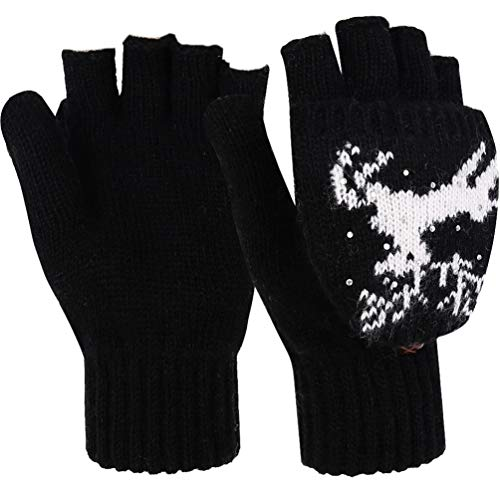 Novawo Women Winter Warm Wool Blend Knitted Convertible Gloves with Sika Deer Pattern, Free Size, Black Sika Deer (Sika Designs)