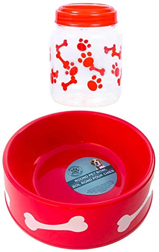 PROSPERITY DEVINE Round Plastic Patterned PET Bowl 9.75 in. & PET Printed Treat JAR with LID, 4x4x5.625 in. Color: RED