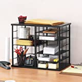 12-Slot Organizer, MDF, Desktop Sorter, 21 x 11 3/4 x 16, Black, Sold as 1 Each