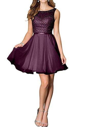 Chiffon A Beliebt linie Charmant Damen Brautjungfernkleider Abendkleider Mini Kurz Cocktailkleider Traube Pailletten qAxw4Twt