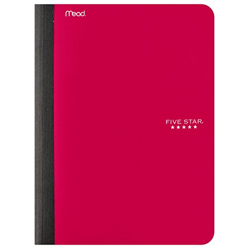 "Five Star Composition Book / Notebook with Pocket, 100 Sheets, 9-3/4"" x 7-1/2"", Red (73520)"