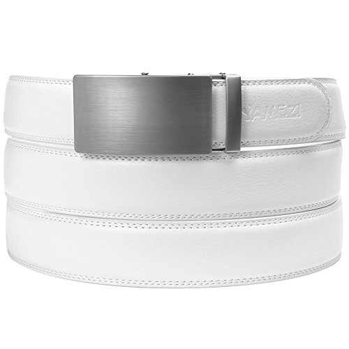 YAMEZI Men's Leather Ratchet Dress White Belt with Automatic Buckle, Leather With Logo
