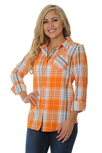NCAA Tennessee Volunteers Women's Boyfriend Plaid Shirt, Medium, Orange/Grey/White