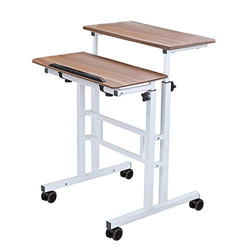 (Penck Mobile Stand Up Desk Height Adjustable Computer Work Station Home Office Desk Rolling Presentation Cart with Wheels Sit-Stand Desk 2 Modes, Vintage Oak)