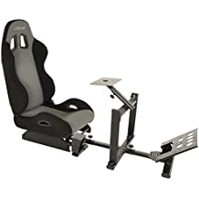 Conquer Racing Simulator Cockpit Driving Seat Reclinable with Gear Shifter Mount