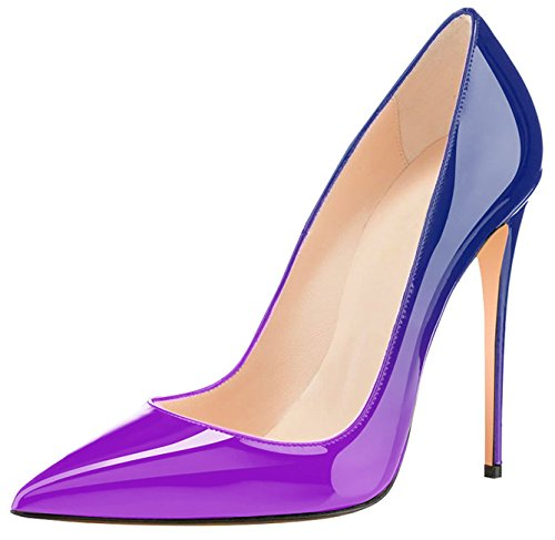 Eldof Womens High Heel Pumps Classic 4.72in Patent Pointed Toe Stilettos 12cm Wedding Party Dress Pumps Purple Blue RAUPjBwf