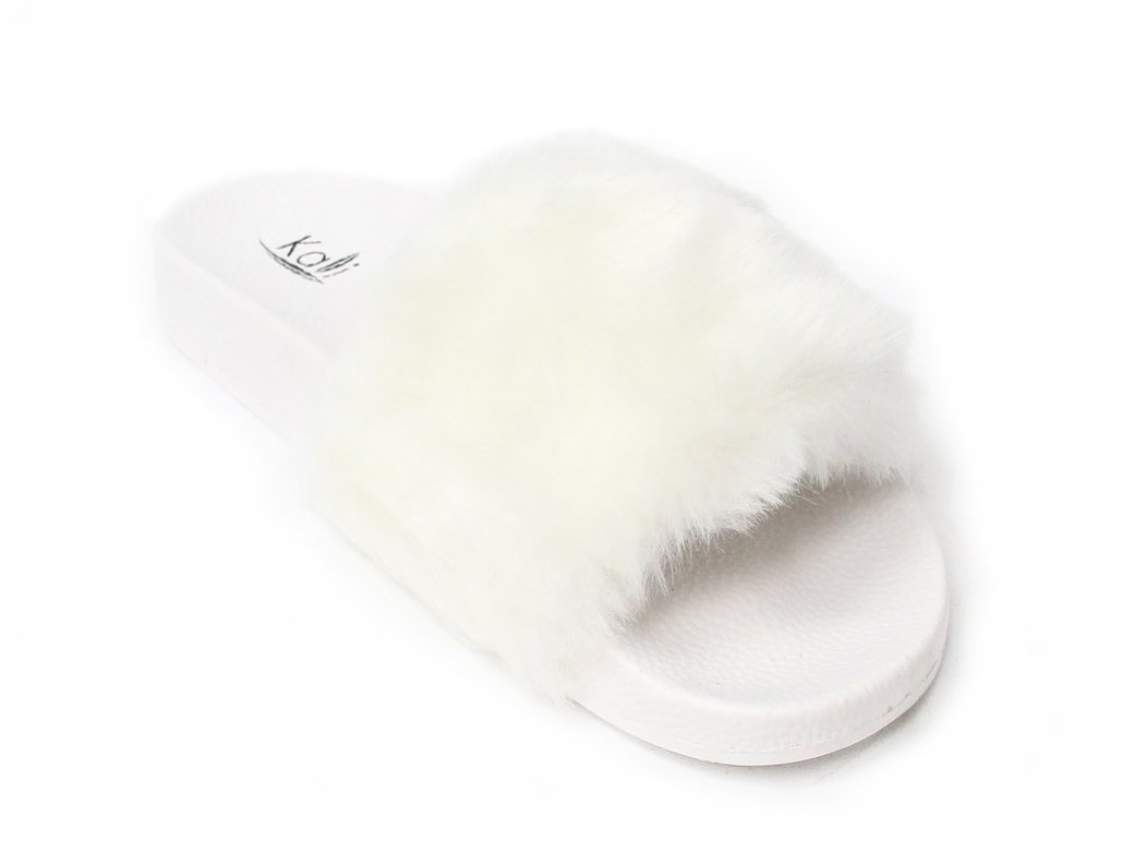 Kali Footwear Women's Flip Flop Faux Fur Soft Slide Flat Slipper Limit (7.5 B(M) US, White)