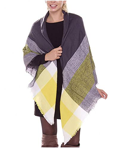 Moxeay Womens Blanket Oversized Tartan Scarf Wrap Shawl Cozy Checked Pashmina (N102)