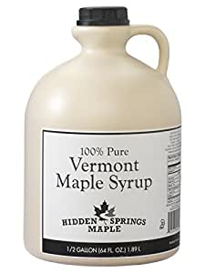 Hidden Springs White Label Vermont Maple Syrup, Golden Delicate, 64 Ounce