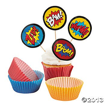 Superhero Cupcake Picks and Baking Cups / Liners