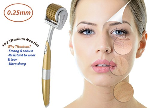 The Adelie 192-Pin-Titanium Gold SKin Care Derma Roller (0.25 mm)