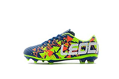 LEOCI Soccer Shoes - Athletic Football Shoes for Men and Boy Outdoor Soccer Shoes Blue Size: 1.5