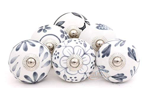 The Metal Magician Vintage Hand Painted Ceramic Round Knobs, Grey and White, Set of 6 Assorted