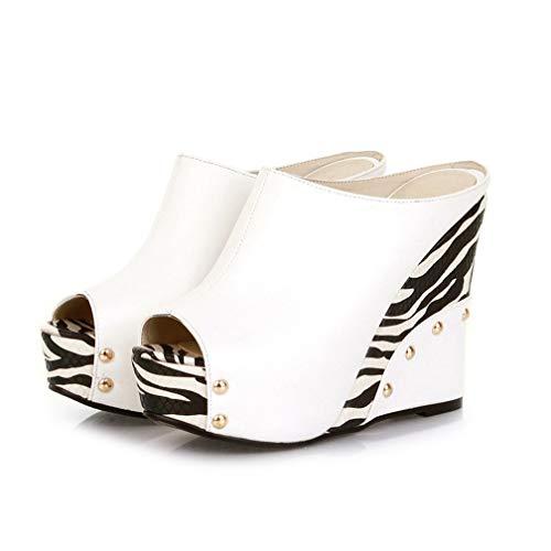 ChyJoey Women's Platform Wedge Sandals Sexy Zebra High Heels Studded Pumps Slip On Peep Toe Slide Sandal White