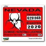 Nevada NV Zombie Hunting License Permit Red - Biohazard Response Team - Window Bumper Locker Sticker