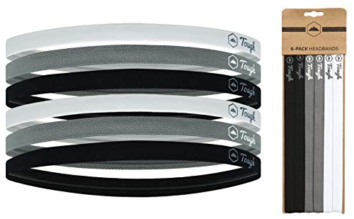 Mini Sports Headbands - 6 Pack Thin Head Bands for Men, Women & Kids - Stretchy Headbands with No Slip Grip - Perfect for Soccer, Basketball, Yoga, Running