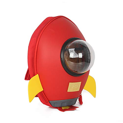 Supercute 3D Rocket Kids Backpack Is Suitable for 2 to10 Years Old Boys And Girls, The Outdoor Kid Backpack Is Waterproof (Red)