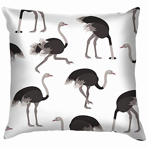 Cartoon Ostrich Gray Bird Animals Wildlife Throw Pillows Covers Accent Home Sofa Cushion Cover Pillowcase Gift Decorative 18X18 Inch - Emu Patio Chairs