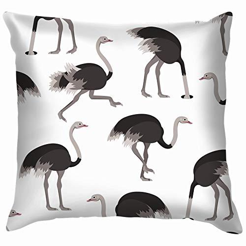Cartoon Ostrich Gray Bird Animals Wildlife Throw Pillows Covers Accent Home Sofa Cushion Cover Pillowcase Gift Decorative 18X18 Inch