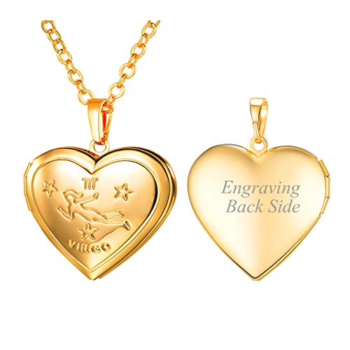 U7 Women Girls Customized Locket Necklace with Horoscope Constellation Sign 18K Gold Plated Heart Pendant That Hold Pictures Virgo Necklace