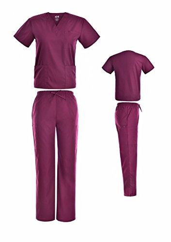 Beverly Hills Scrubs Medical Uniform Women Men Scrub Set Top and Cargo Pants (S, - Womens Uniform Mens