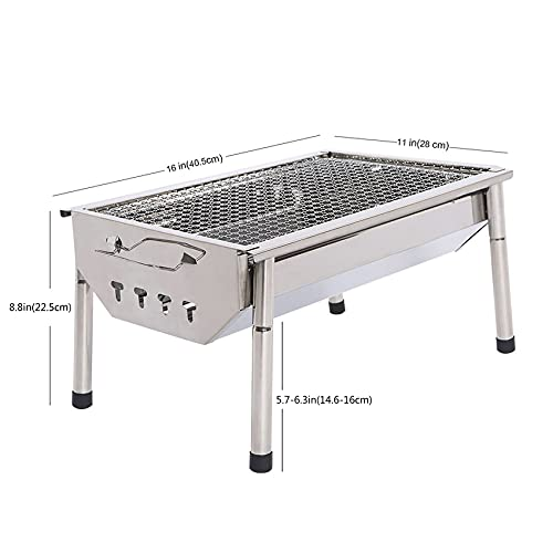 Charcoal Grill Barbecue Portable BBQ - Stainless Steel Folding Sliver