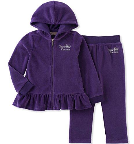(Juicy Couture Girls' Big' 2 Piece Velour Pants Set, Purple, 12)