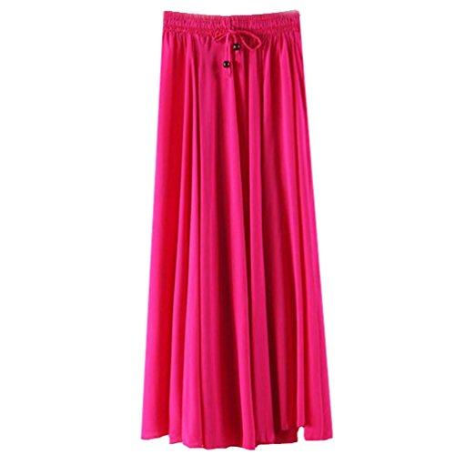 YuanDian Femme Ete Casual Boheme Retro Littrature Et Art Style Couleur Unie Jupe Longue Swing Taille lastique Cordelette Trapze Fluide Maxi Jupe Rose Rouge
