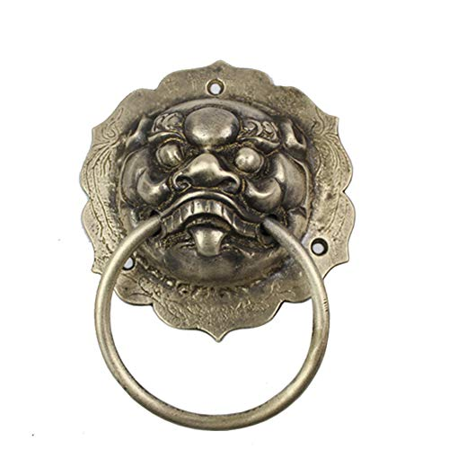 (Antique Gate Animal head Door knocker,Lion head Handle Pure copper Large pull ring,For Gate Garden gate-Bronze 13x17cm(5x7inch))