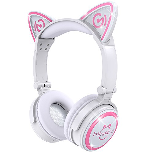 MindKoo Bluetooth Headphones, Over-Ear Wireless Headphones, Cat Ear Headphones with LED Light, Foldable, Built-in Microphone and Volume Control for PC/Cell Phones/Kids/Teen/Boys/Girls/Adults, White]()