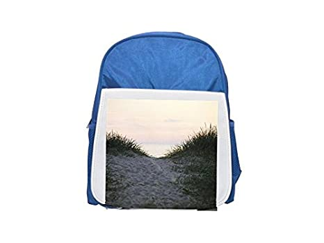 Mochila azul con estampado de hierba en la playa, diseño de Suecia para niños, bonitas mochilas ...