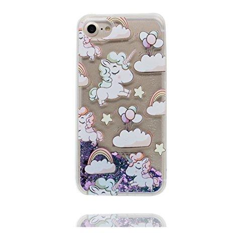 """iPhone 6 Coque, [Bling Glitter] iPhone 6s étui Cover (4.7""""), Fluide Liquide Sparkles Sables iPhone 6 Case (4.7""""), (Licorne cheval)- Shell anti- chocs et Bouchon anti-poussière"""