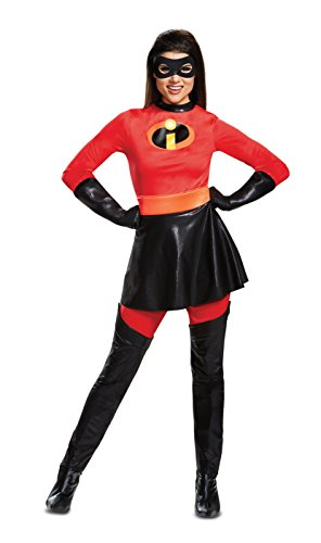 Disguise Women's Mrs. Incredible Skirted Deluxe Adult Costume, red, M (8-10) -