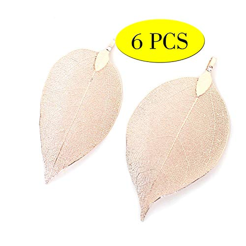 Wholesale 6PCS Rose Gold Real Filigree Leaf Pendants Charms Bulk for Jewelry Making