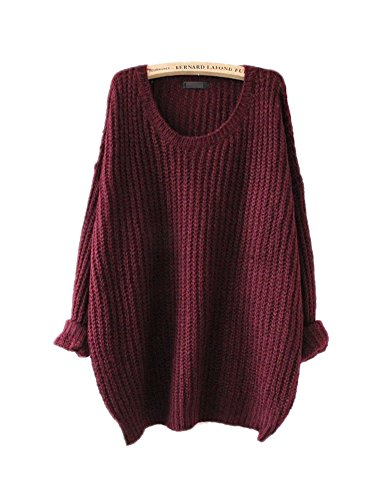 Heavyweight Jersey Sweater - ARJOSA Women's Fashion Oversized Knitted Crewneck Casual Pullovers Sweater (#1 Wine Red)