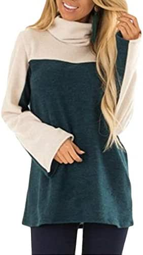 Women Turtle Neck Color-Block Pullovers Long Sleeve Top Blouse T-Shirt
