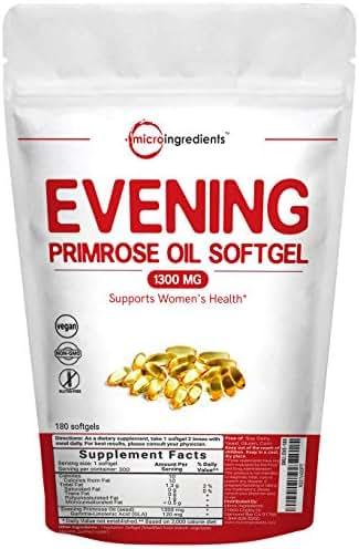 Evening Primrose Oil 1300mg, 180 Liquid Softgels, Helping Maintain Healthy Skin, Prostaglandin Levels and Balance Immune Response, No GMOs and Vegan Friendly