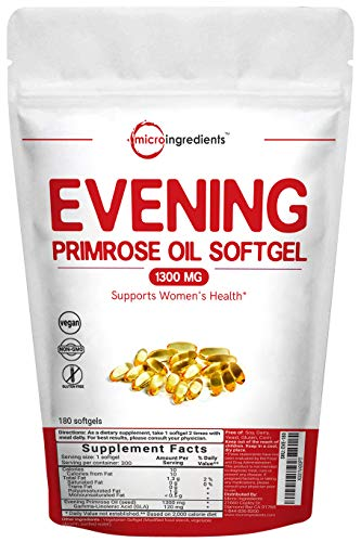 Evening Primrose Oil 1300mg, 180 Liquid Softgels, Helping Maintain Healthy Skin, Prostaglandin Levels & Balance Immune Response, Non-GMO and Vegan Friendly ()