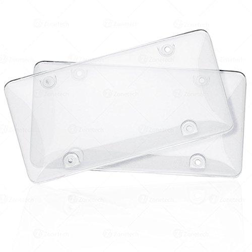 Zone Tech Clear Unbreakable License Plate Shields - 2-Pack Novelty/License Plate Clear Smoked Unbreakable Bubble Shields