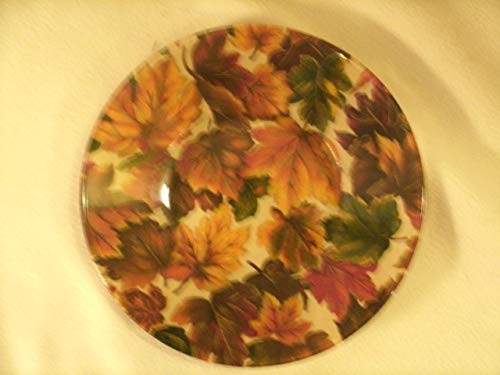 The Unique Gift Boutique-Falling Leaves Decorative Decoupage Fabric Backed Plate